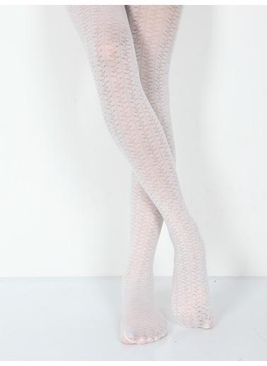Pierre Cardin Micro 40 Desenli Külotlu Çocuk Çorabı Beyaz